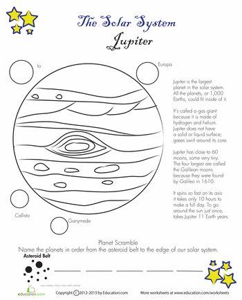 Worksheets: Jupiter Facts