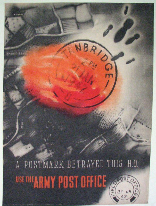 "1942 Abram Games WW2 ""Postmark Betrayed this H.Q"" Vintage Poster"