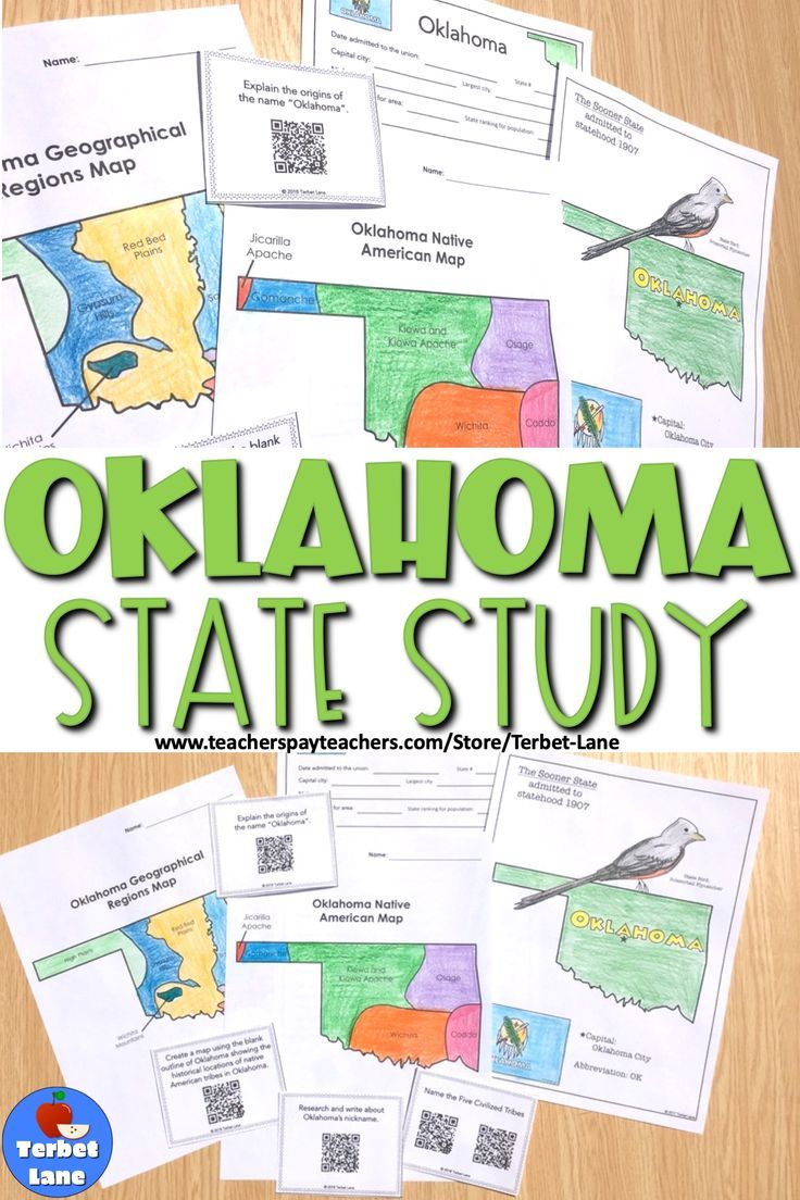 Oklahoma History And Symbols Unit Study With Qr Codes Distance