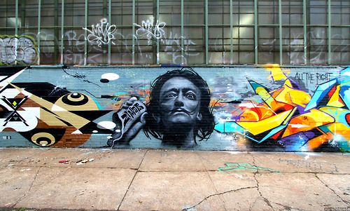 Salvador Dalí featured in this large mural by Ruben x Zimer x Sen 2 at  5Pointz in Long Island City, Queens.
