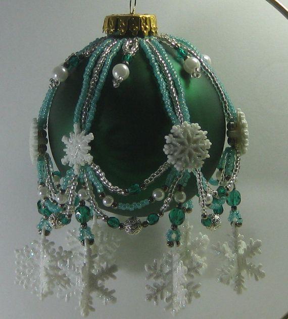 Beaded Christmas ornament cover by Beadingornamentals on Etsy, $25.00
