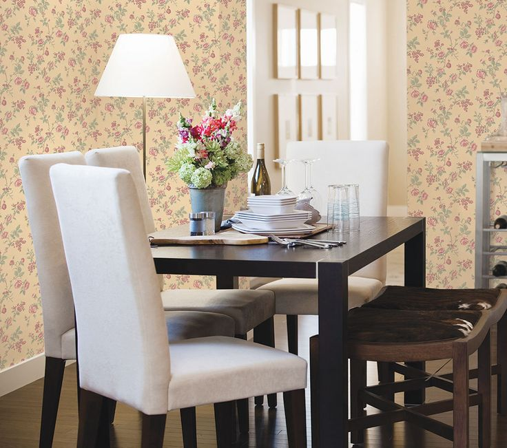 This dining room balances traditional florals and modern furniture to create a welcoming space for entertaining!