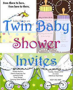 Nine cute designs for twin baby shower invitations