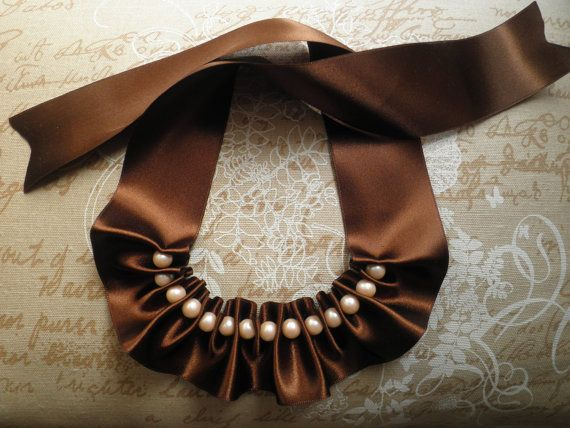 SALE 30% Ribbon necklace ribbon and pearl by morethanaribbon