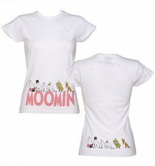 Ladies White Moomins Border Print T-Shirt