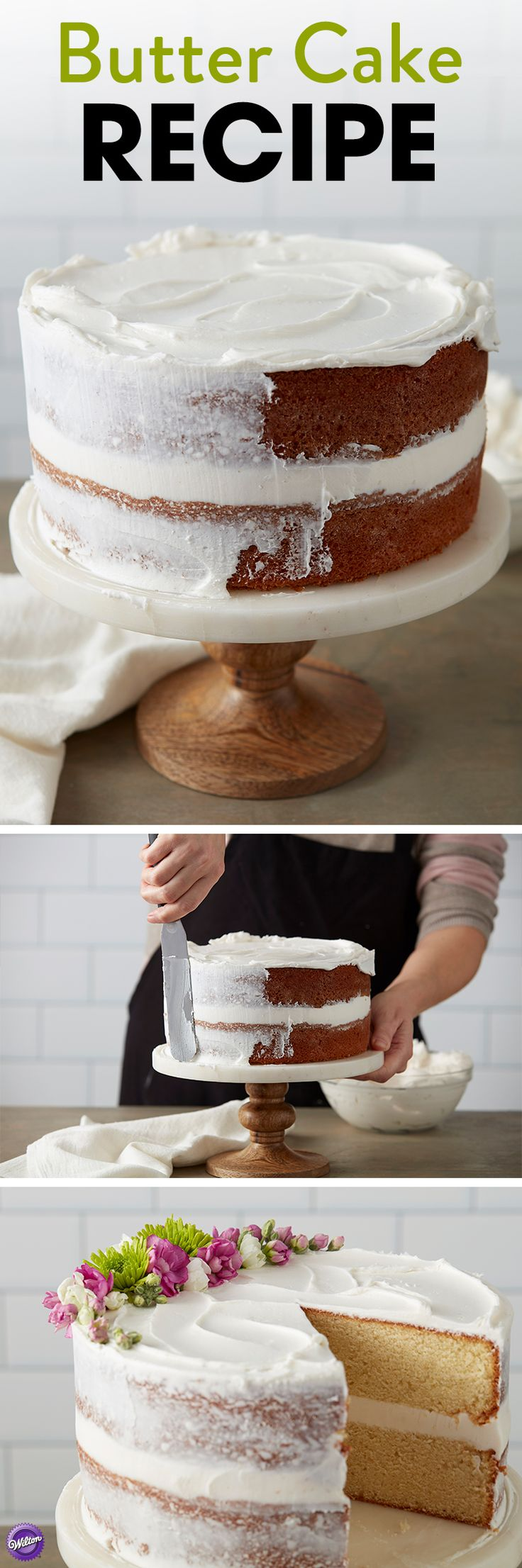 Butter Cake Recipe - This cake has a firm, moist texture that makes it perfect for tiered designs. We've added almond flavor to give it a richer taste everyone will love.