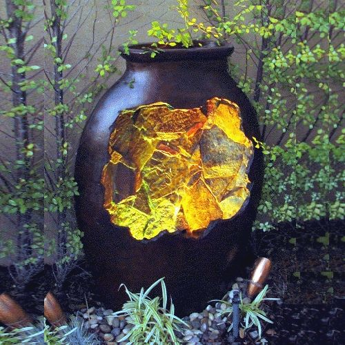 The Large Luna Is A Handcrafted Pottery Fountain With An Inside Waterfall  Scene And Lighting.