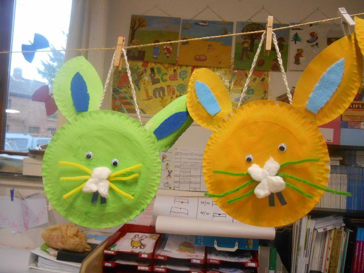 Bricolage de Pâques: panier lapin avec assiette en carton  Pâques ...
