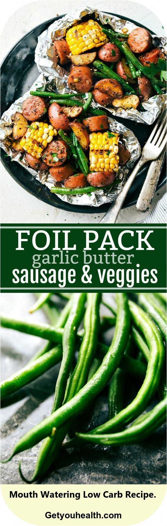 Sausage Pack Aluminum Foil and also Veggies Easy Tin Foil Pack Butter Sauce with Garlic …   – Low-Carb