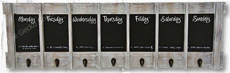The Gecko Shack - Weekly / Day Planner Blackboard Key Holder Hook Display Beach White Wash, $59.00 (http://www.geckoshack.com.au/weekly-day-planner-blackboard-key-holder-hook-display-beach-white-wash/)