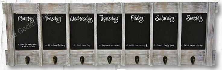 The Gecko Shack - Weekly / Day Planner Blackboard Key Holder Hook Display Beach White Wash, $59.00 (http://www.geckoshack.com.au/weekly-day-planner-blackboard-key-holder-hook-display-beach-white-wash/)