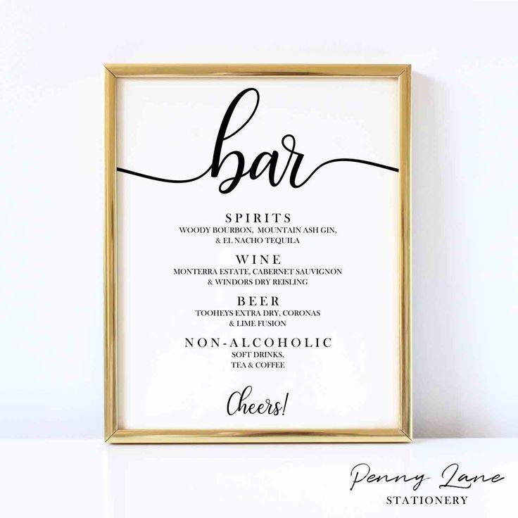 Cursive Script Wedding Bar Menu Hochzeit Bar Hochzeitsmenu Und