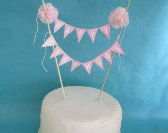 Birthday Cake banner Pink Ombre Happy birthday by Hartranftdesign