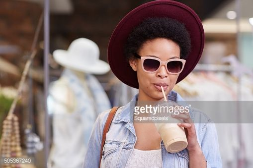 Stock Photo : This smoothie is the only companion I need for shopping