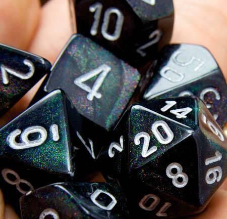 Borealis Dice (Smoke Black). This 7-piece Borealis dice set has all the classic RPG polyhedral shapes you know and love.