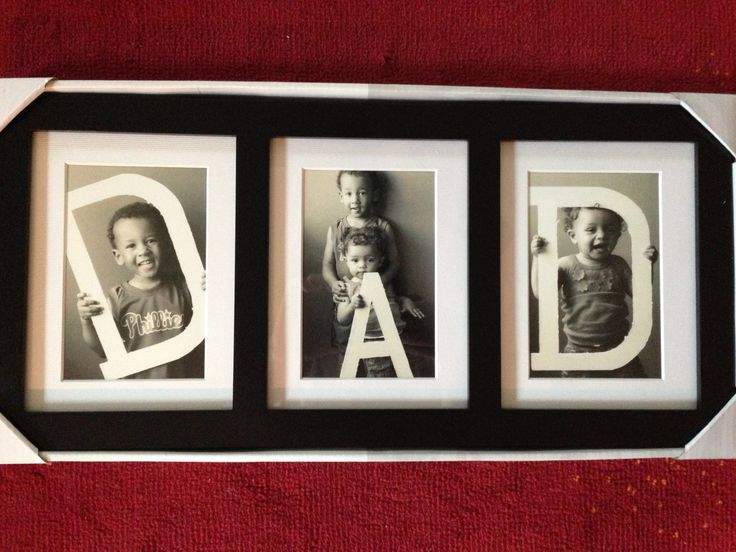 Dad photo gift DIY idea. I just cut out a big D and A using some materials from Michaels and prayed the kids would let me take pics of them
