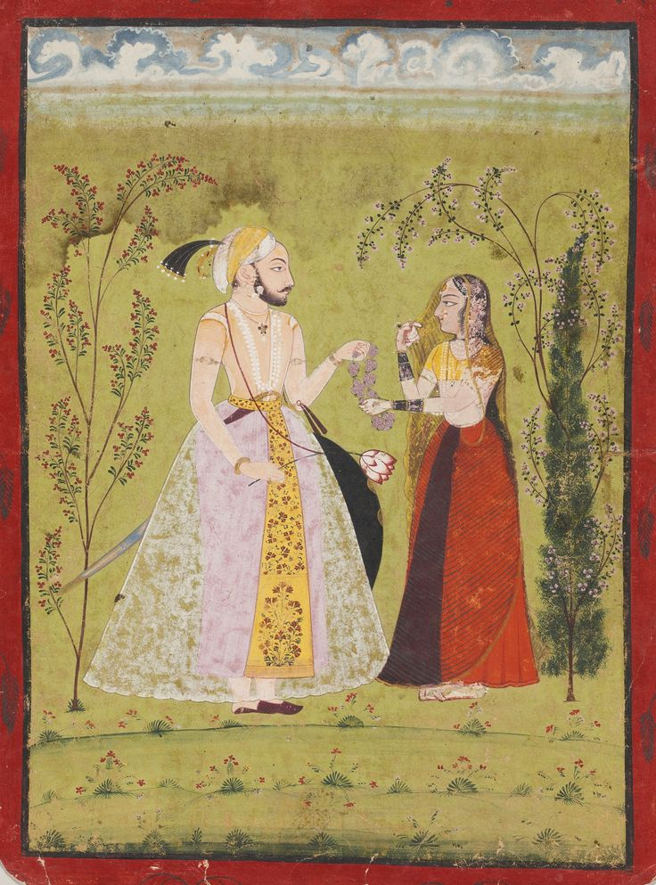 Rao Dev Singh offers a garland; Rajasthan, ca. 1740
