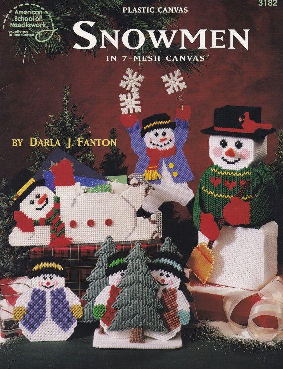 Christmas Snowmen, American School of Needlework Plastic Canvas Pattern Booklet…