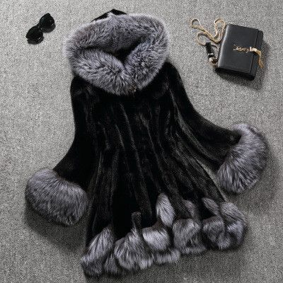 Faux Fox Trim Mink Coat Clothing Length: Long Closure Type: Covered Button…