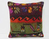 kilim rug pillow 18x18 turkish cushion cover moroccan cushion western pillow case big throw pillow modern cushion cover bench cushion 24670
