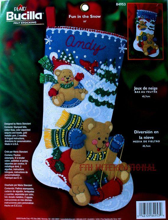 Bucilla Fun In The Snow 18 Felt Christmas Stocking Kit