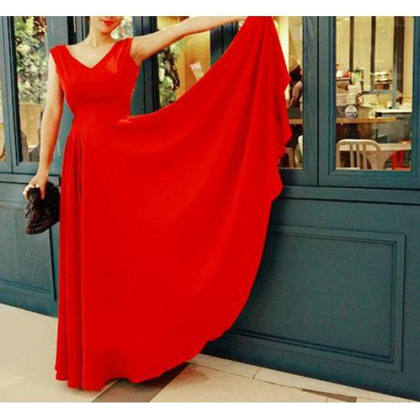 Elegant Red V-Neck Sleeveless Backless Chiffon Dress For Women, RED, S in Chiffon Dresses | DressLily.com