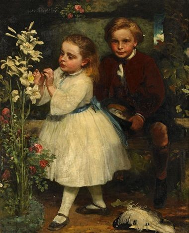 """Två Syskon"" [Siblings] -- by James Sant (British, 1820–1916)"