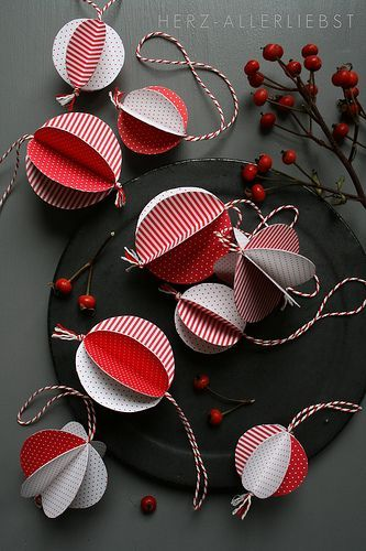 Punch out 6 circles of either scrapbook paper, old Christmas cards, or wrapping paper. Fold the circles in half and paste them back-to-back. Before gluing the last circle in place, put hanging ribbon or string in center then glue.