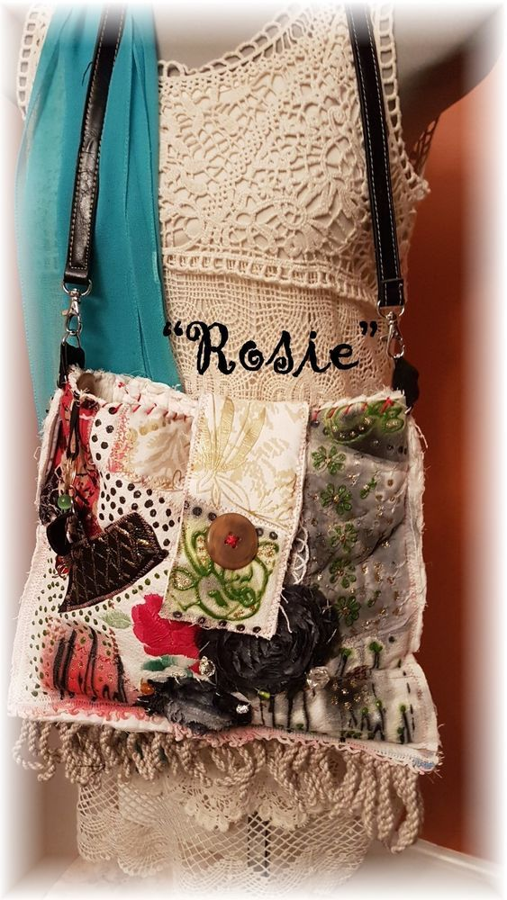 "Hand Made BoHo Bohemian Handbag Original Signed Numbered FAB*BOHO ""ROSIE"" #004 #FABBOHO #ShoulderBag"