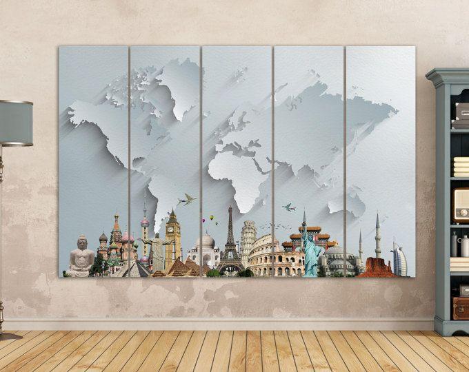 Mapa del mundo monumentos grandes imprimir mapa/plata mundo mapa Multi piezas mundo mapa, mejor que la lona de cuero efecto 3d!