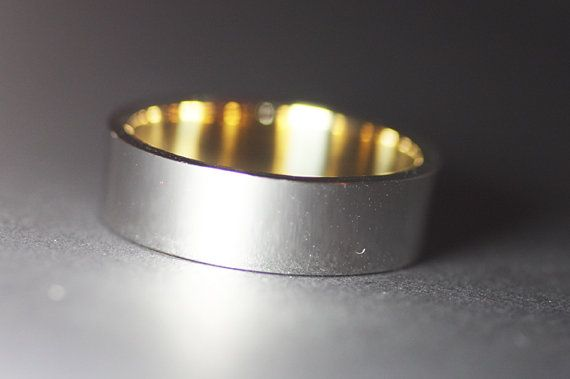Man's wide band/Yellow gold band/White gold wedding