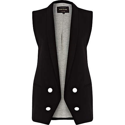 Black longline double breasted waistcoat $90.00