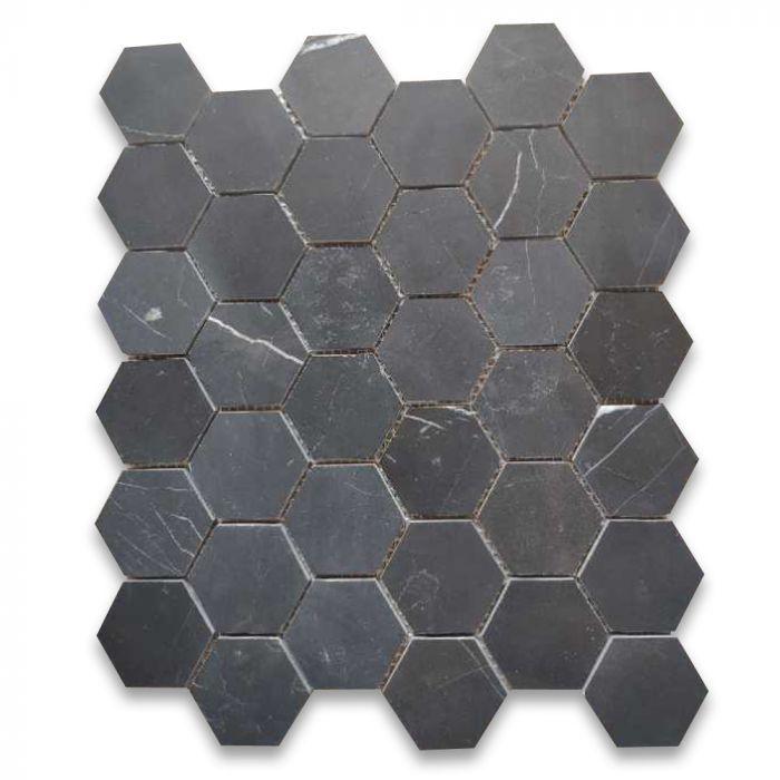 Nero Marquina Black Marble 2 Inch Hexagon Mosaic Tile Honed Hexagon Mosaic Tile Hexagonal Mosaic Mosaic Tiles