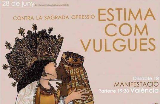 Un cartel de la manifestación del orgullo gay en Valencia muestra a dos Vírgenes besándose en la boca