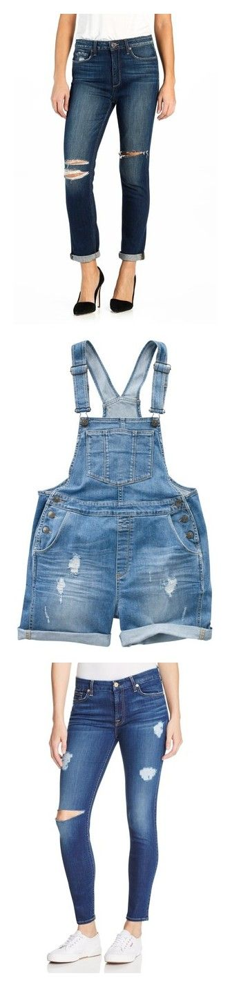 """""""Bottoms"""" by kaitlyn-oliver-1 ❤ liked on Polyvore featuring jeans, damen destructed, white destroyed jeans, distressed jeans, high waisted destroyed jeans, high waisted jeans, cropped jeans, shorts, overalls and dungaree shorts"""