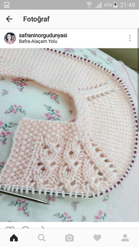 Lace baby jacket (knit with crochet accents) from Asian magazine found in Russian site [http://www.liveinternet.ru/users/baby-vipcrochet/rubric/5097033/]. Charts included.