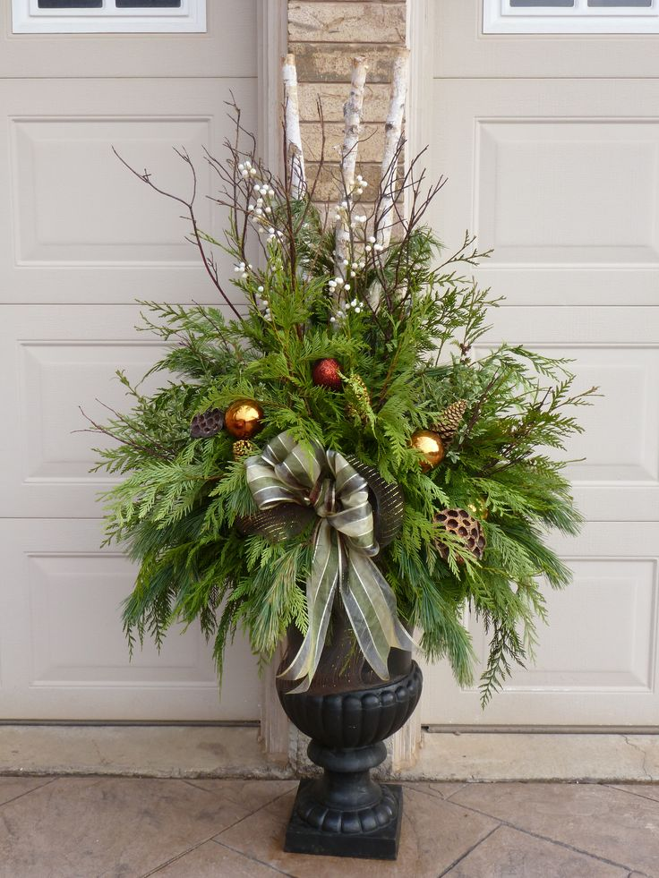 Christmas Decorating Ideas For Outdoor Urns : Best ideas about christmas urns on winter
