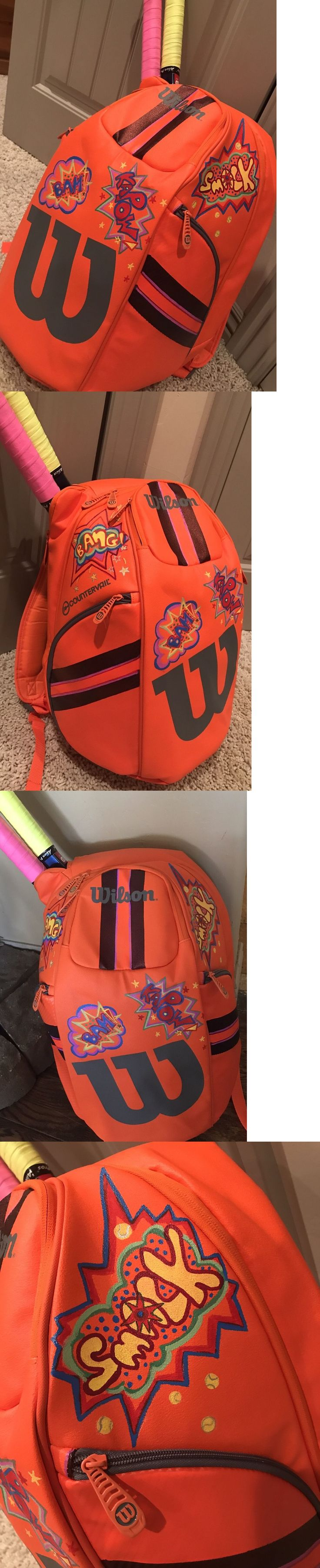 Bags 20869: Burn Wilson Tennis Bag Customized Cartoon Art Sports Backpack Neon Orange Nwt -> BUY IT NOW ONLY: $150 on eBay!