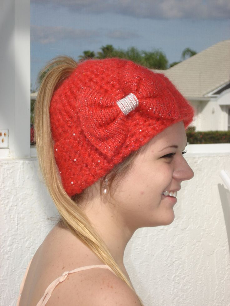 Free Crochet Pattern Ponytail Hat : Handmade ,Red Crochet and Knit Ponytail hat embellished ...