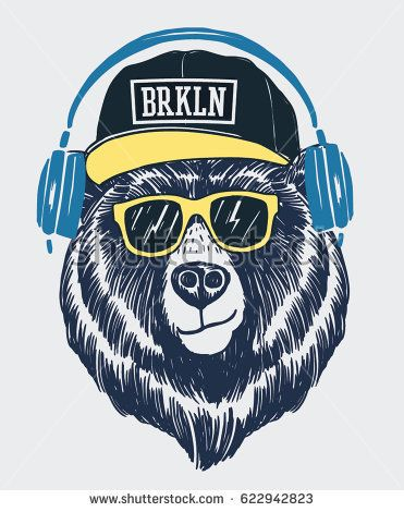 Cool bear illustration for t shirt and other uses