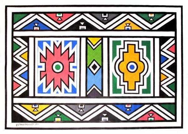 Esther Mahlangu canvas art - Ndebele