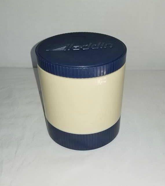 Vintage Aladdin Thermos Container, Blue, 8 oz, Insulated Food Storage Container, Thermos Jar, Aladdin, Soup Storage, Lunch Storage,1970s http://etsy.me/2FjJC6W    #thermos #insulatedjar #lunchbox #thermosjar #8ozinsulatedjar #madeinusa