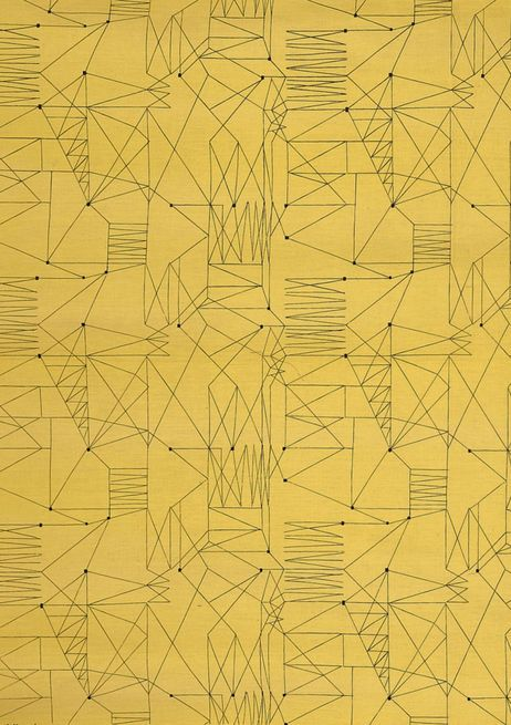 """""""Graphica"""" is a furnishing fabric sample from British textile design maven Lucienne Day for Heal's. 1954."""