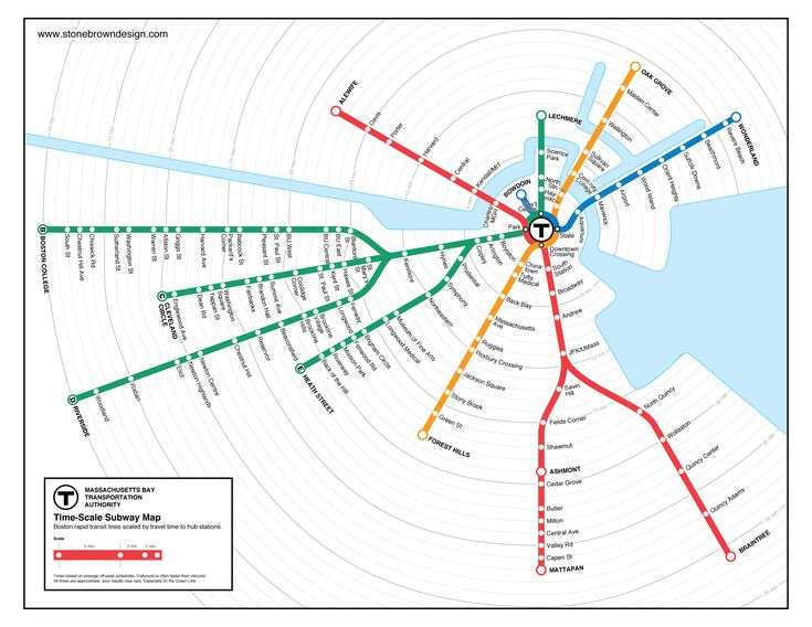 Boston transit time travel map