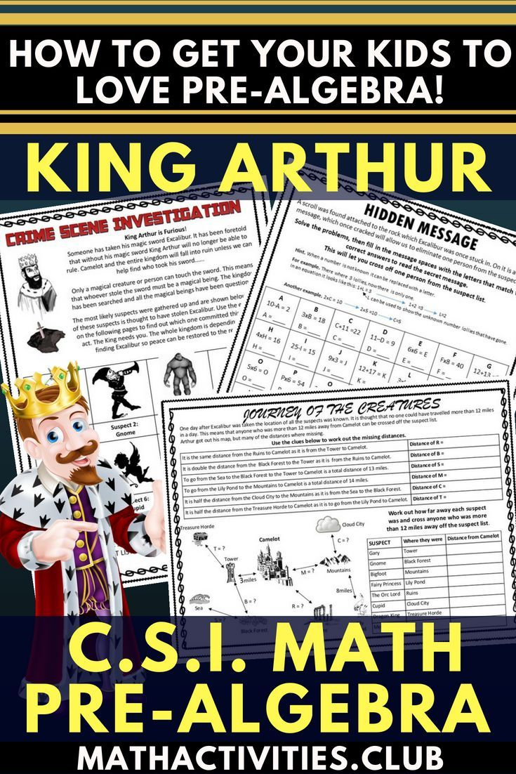 Pre Algebra Activity Csi Algebra Math King Arthur Who Stole