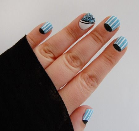 Half Moon and Stripes I picked up some Barry M textured and confetti nail polish. So I thought I'd better try them out together.