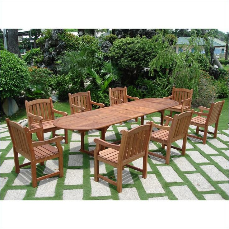 9 Piece English Garden Dining Set with Oval Extension Table $1,632.75