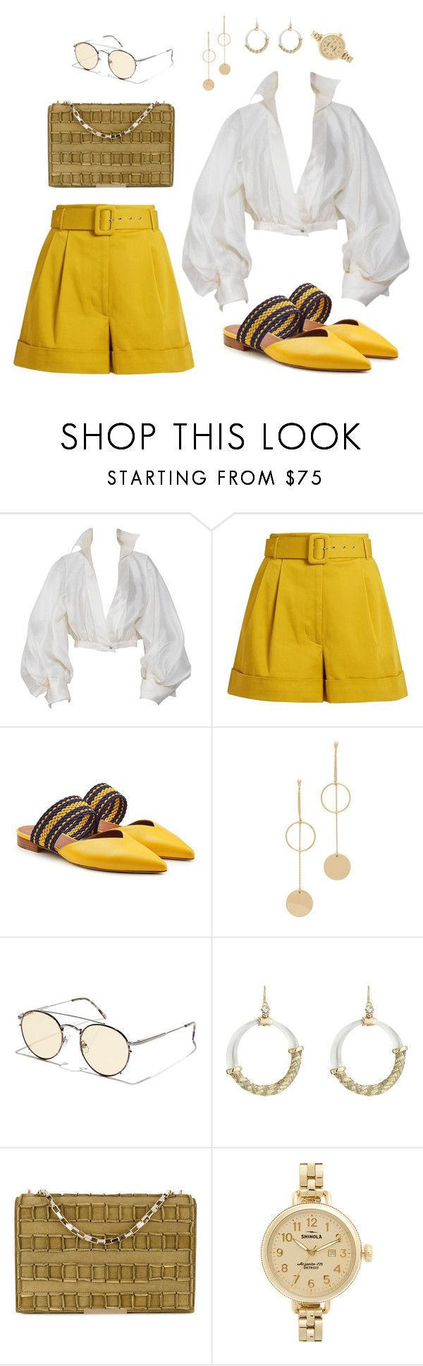 """""""Untitled #82"""" by cameronquittner ❤ liked on Polyvore featuring Claude Montana, Isa Arfen, Malone Souliers, Cloverpost, Crap, Alexis Bittar, Tomasini and Shinola"""