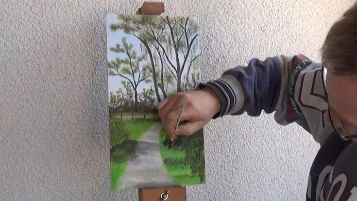 Kostenfreier Online-Malkurs für ein leuchtendes Frühlingsbild mit Weg und Pferdekoppel im Hintergrund. Mit Schritt für Schritt Anleitung.