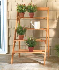 New Outdoor Weather Treated Natural 4 Tier Ladder Style Wooden Plant Stand For The Home Garden Planters Stands In Woods